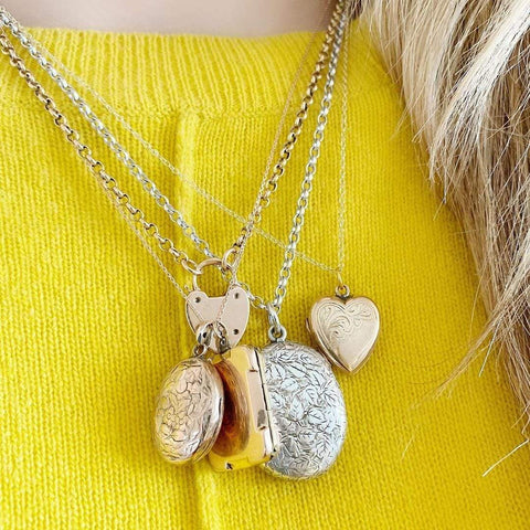 VICTORIAN Necklace Antique Victorian Heart Padlock 9ct Yellow Gold Chain Necklace