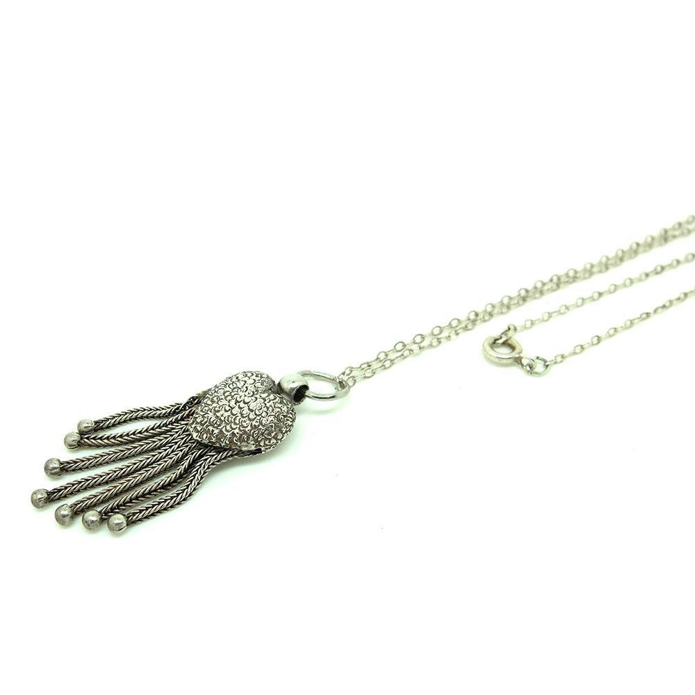 Antique Victorian Heart Tassel Silver Pendant Necklace