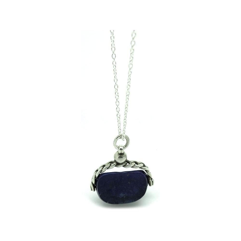 Antique Victorian Lapis Lazuli Silver Fob Gemstone Necklace