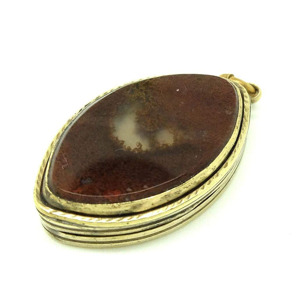 VICTORIAN Necklace Antique Victorian Marquise Agate Locket Necklace