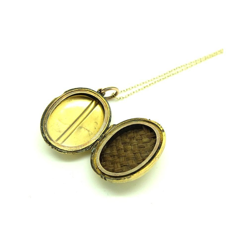Antique Victorian Mourning Brass Coffee Bean Locket Necklace
