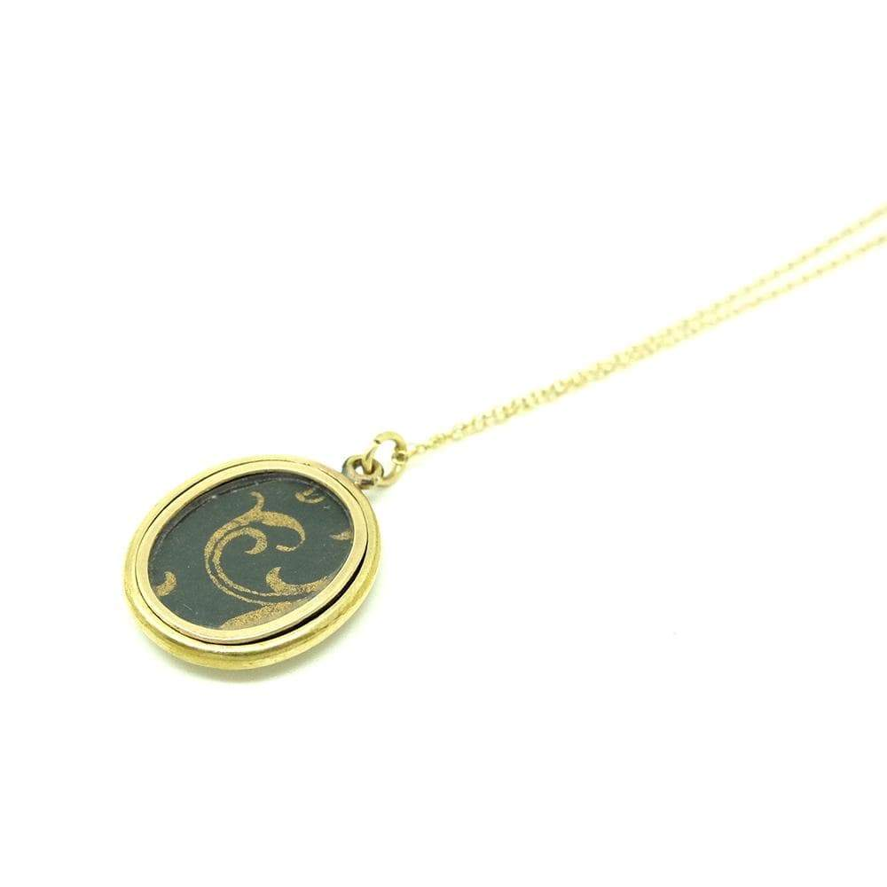 VICTORIAN Necklace Antique Victorian Ornate 9ct Gold Oval Locket Necklace