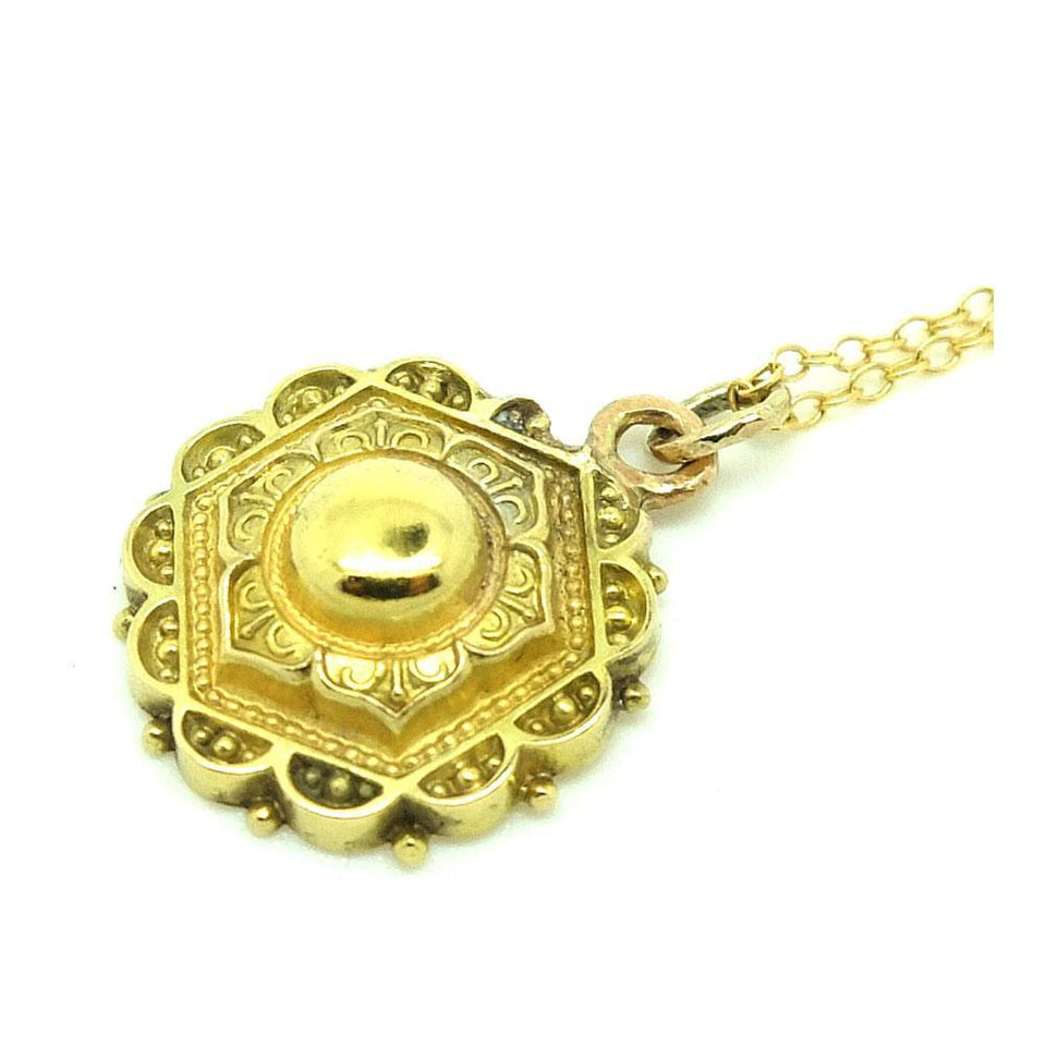 Antique Victorian Ornate 9ct Gold Pendant Necklace