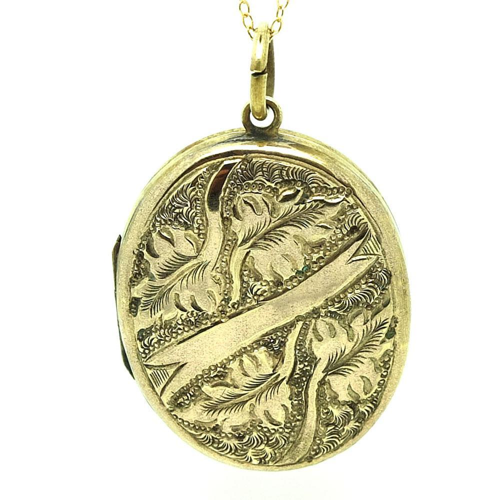 Antique Victorian Ornate Gold Tone Locket Necklace