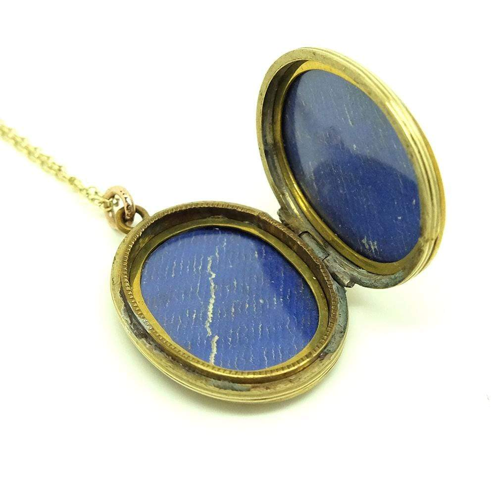 VICTORIAN Necklace Antique Victorian Ornate Oval Brass Locket Necklace