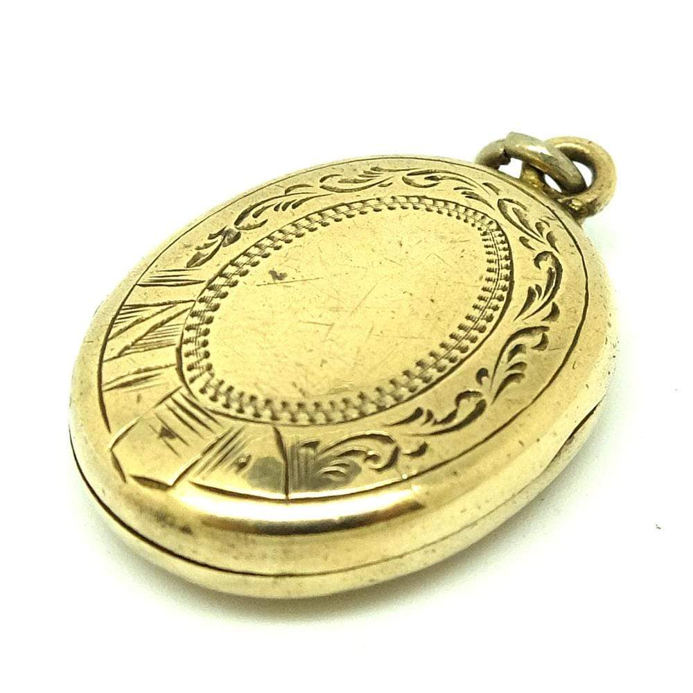 VICTORIAN Necklace Antique Victorian Oval Brass Locket Necklace