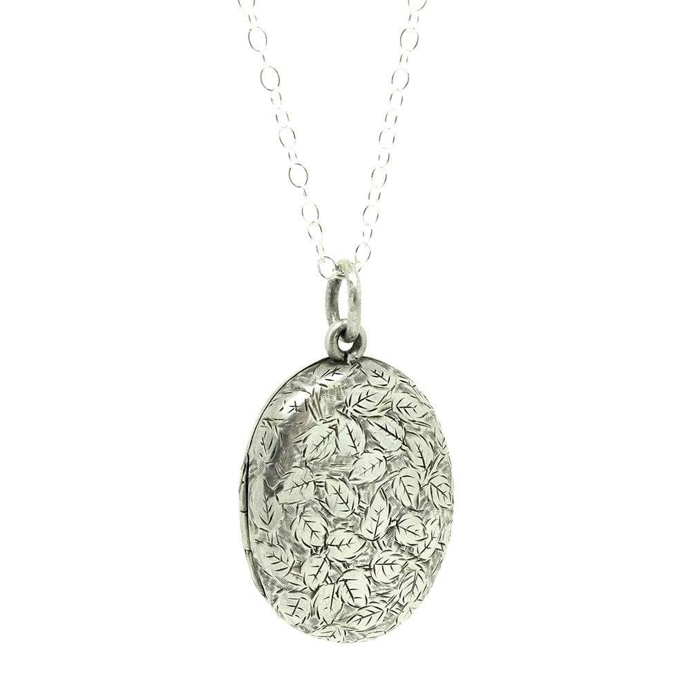 VICTORIAN Necklace Antique Victorian Oval Ivy Silver Locket Necklace