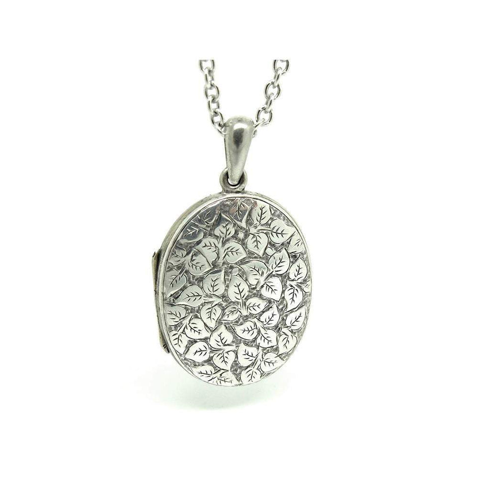 Antique Victorian Oval Ivy Silver Locket Necklace