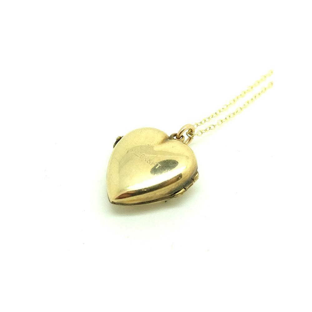 Antique Victorian Puffed Yellow Gold Heart Locket Necklace
