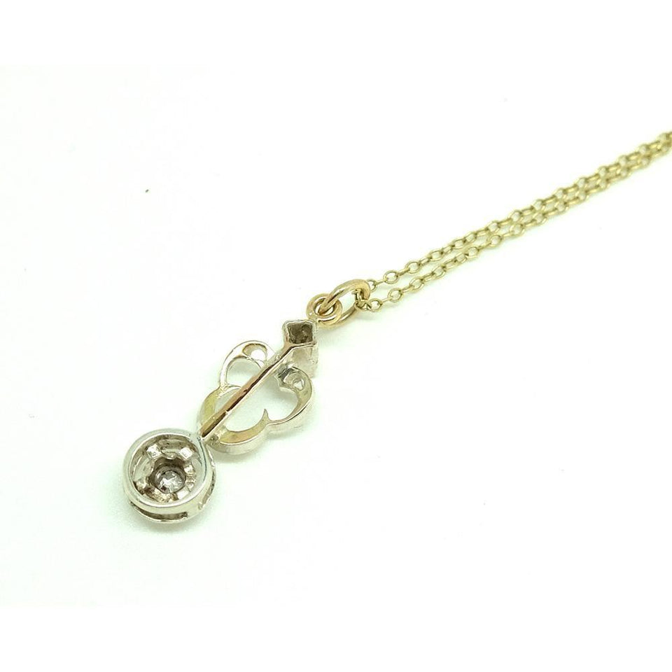 Antique Victorian Silver & Diamond Gold Necklace