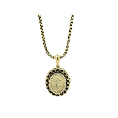 Antique Victorian Ornate Oval Brass Locket Necklace
