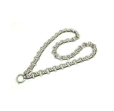 Antique Victorian Silver Star Locket Collar Chain Necklace