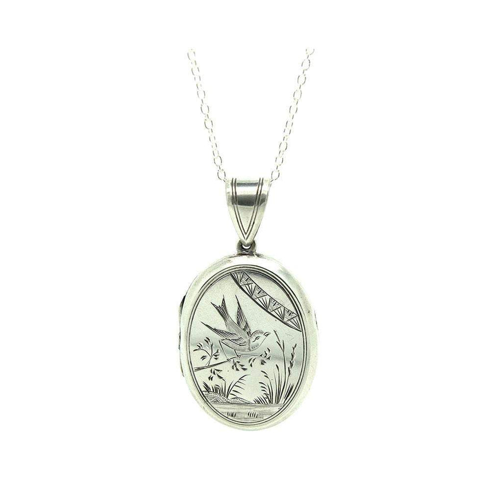 Antique Victorian Sterling Silver Bird Mourning Locket Necklace