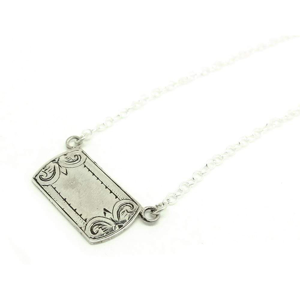 VICTORIAN Necklace Antique Victorian Sterling Silver Charm Necklace - Personalise Me