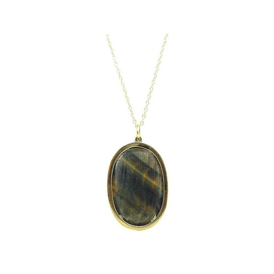 Antique Victorian Tigers Eye 9ct Gold Pendant Necklace