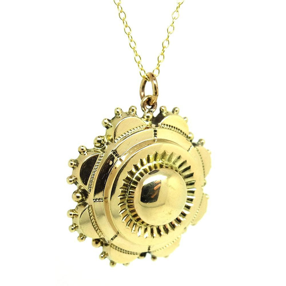 Antique Victorian Yellow Gold Sunshine Locket Necklace
