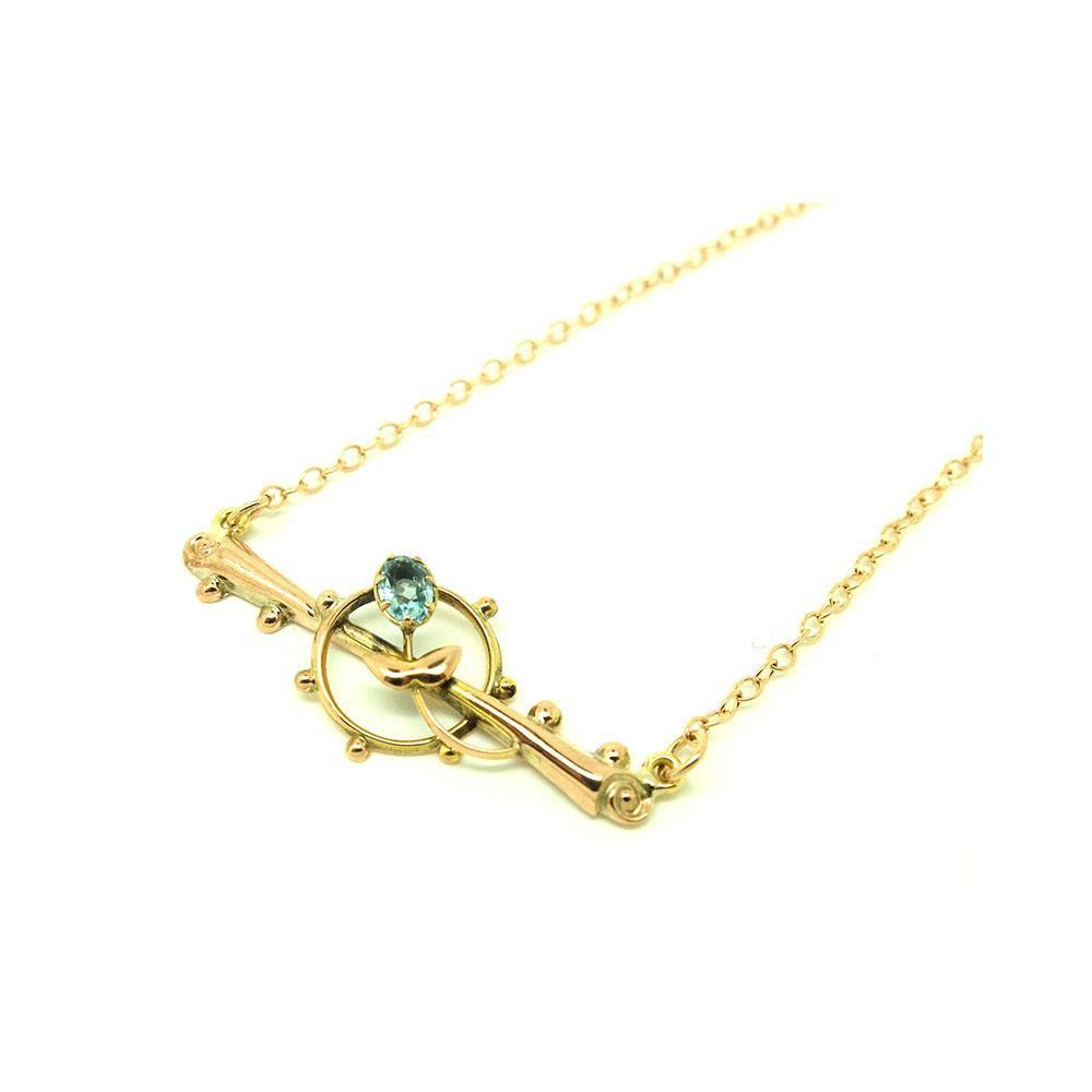 Reserved - Antique Victorian Blue Topaz 9ct Rose Gold Necklace