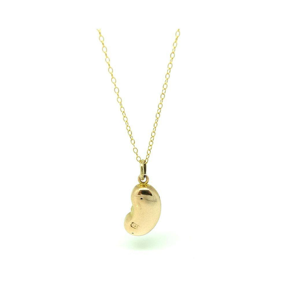 Reserved - Antique Victorian Lucky Bean Engraved 9ct Gold Charm Necklace