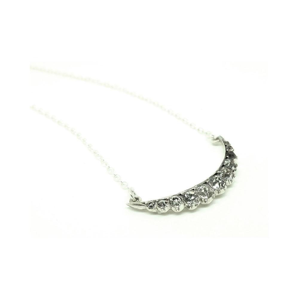 Reserved - Rita - Antique Victorian Sterling Silver French Paste Crescent Necklace