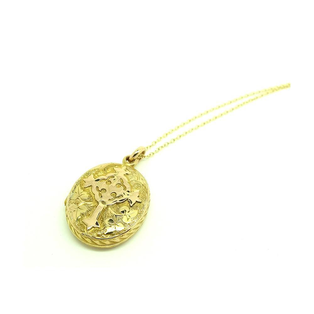 SOLD - G - Antique Victorian 9ct Yellow Gold Catholic Cross Oval Locket Necklace