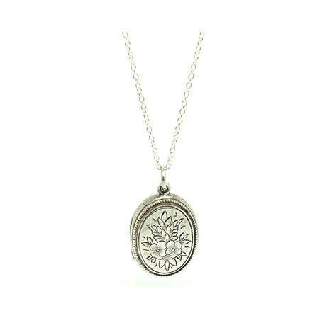 SOLD - Grace -Antique Victorian Engraved Oval Silver Flower Locket Necklace