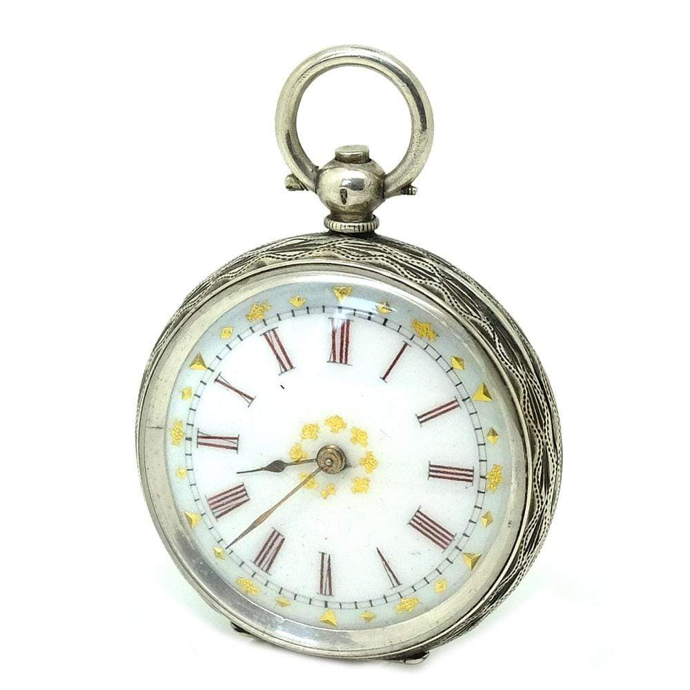 VICTORIAN Pocket Watch Antique Victorian Swiss Sterling Silver Pocket Watch