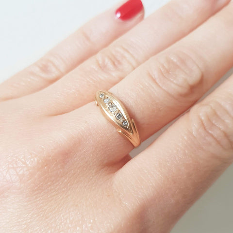 VICTORIAN Ring Antique 1919 Victorian 18ct Rose Gold Diamond Ring