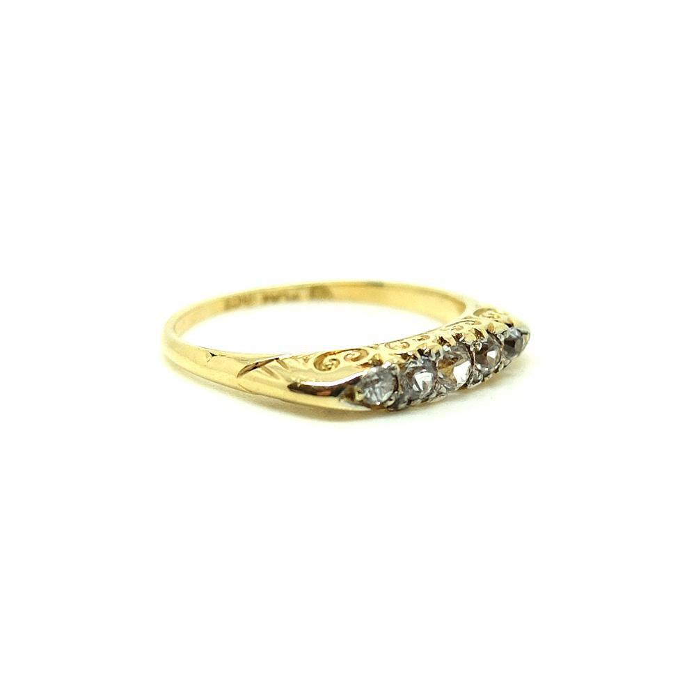 Antique Victorian 1849 Diamond & 18ct Gold Gemstone Engagement Ring | 0 / 7.5
