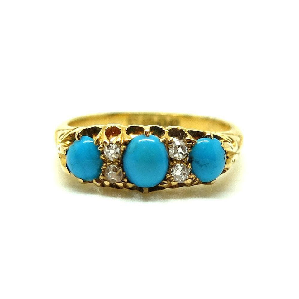 Antique Victorian 1856 Turquoise & Diamond 18ct Yellow Gold Ring