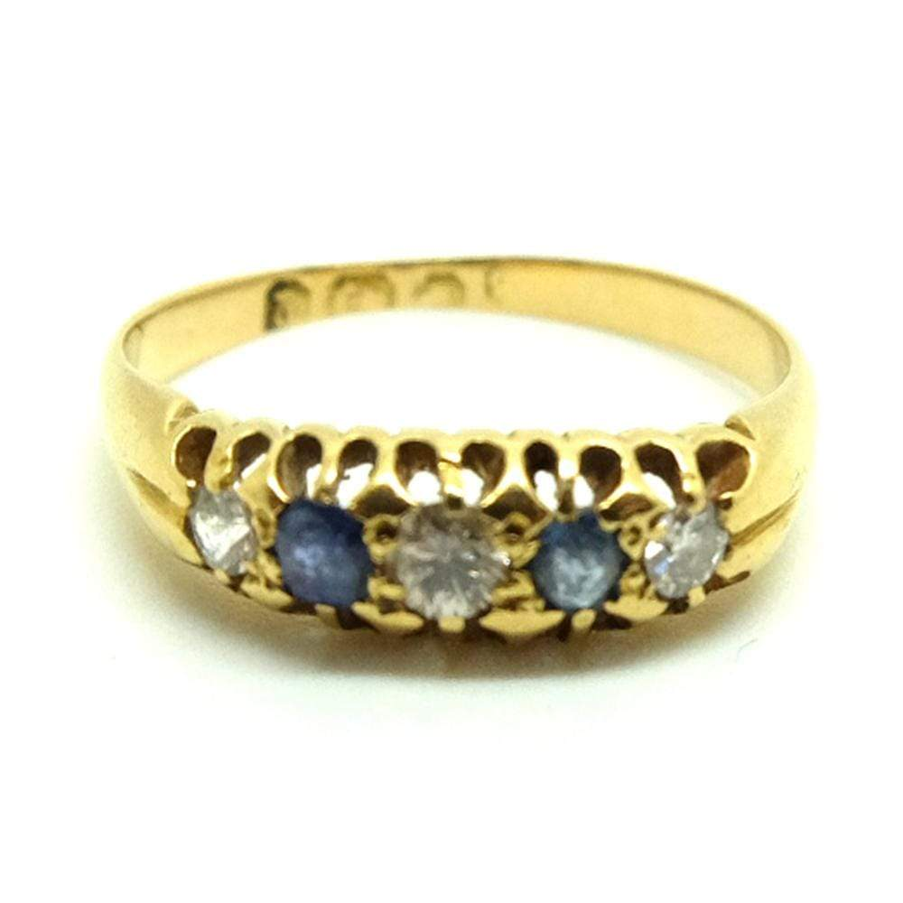 VICTORIAN Ring Antique Victorian 1898 Sapphire Diamond 18ct Gold Ring