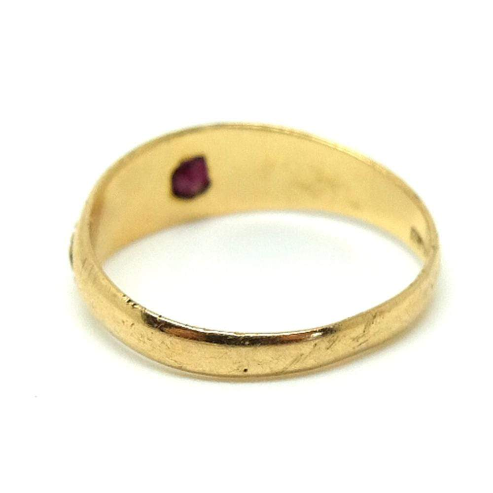 VICTORIAN Ring Antique Victorian 1899 Garnet 18ct Gold Ring