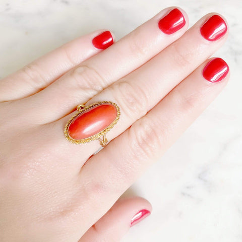 VICTORIAN Ring Antique Victorian 18ct Gold Large Oval Coral Ring