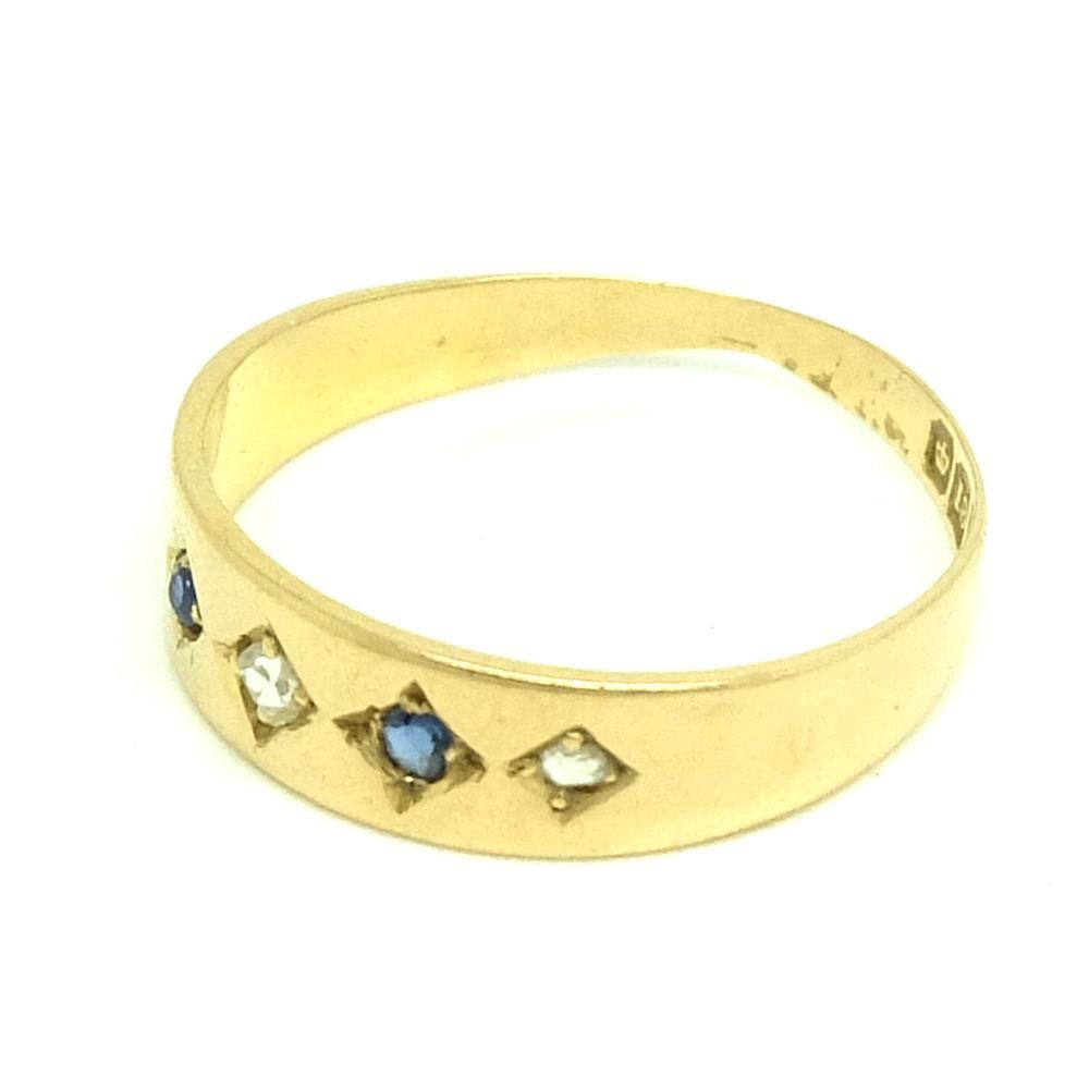 Antique Victorian 1900 Diamond & Sapphire 18ct Yellow Gold Ring