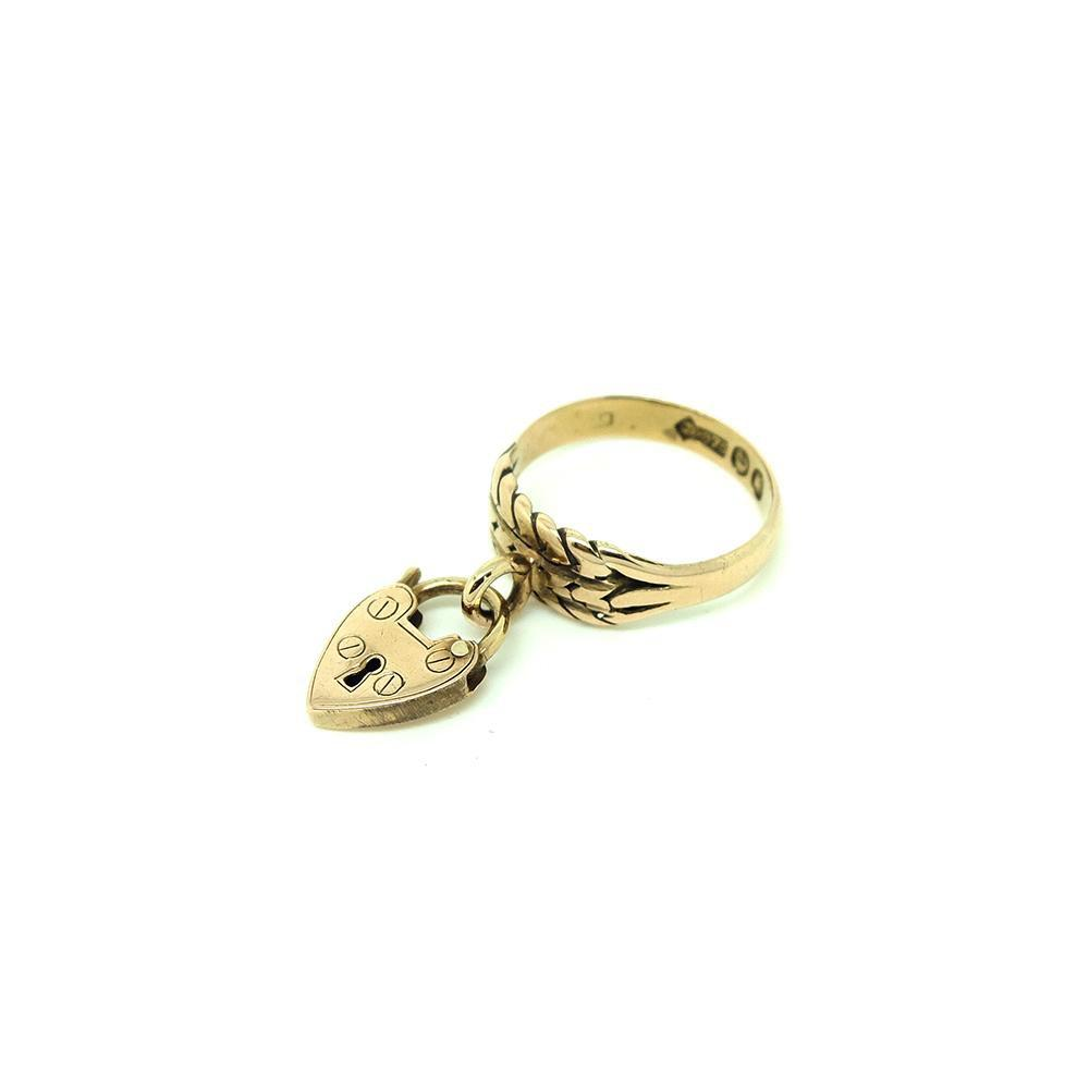 Antique Victorian 9ct Rose Gold Heart Lock Ring