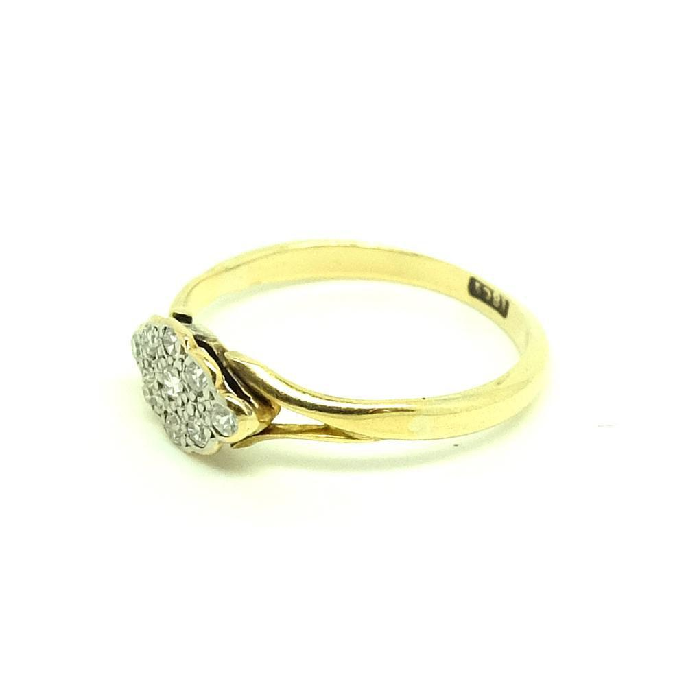 Antique Victorian Diamond Cluster 18ct Gold Ring