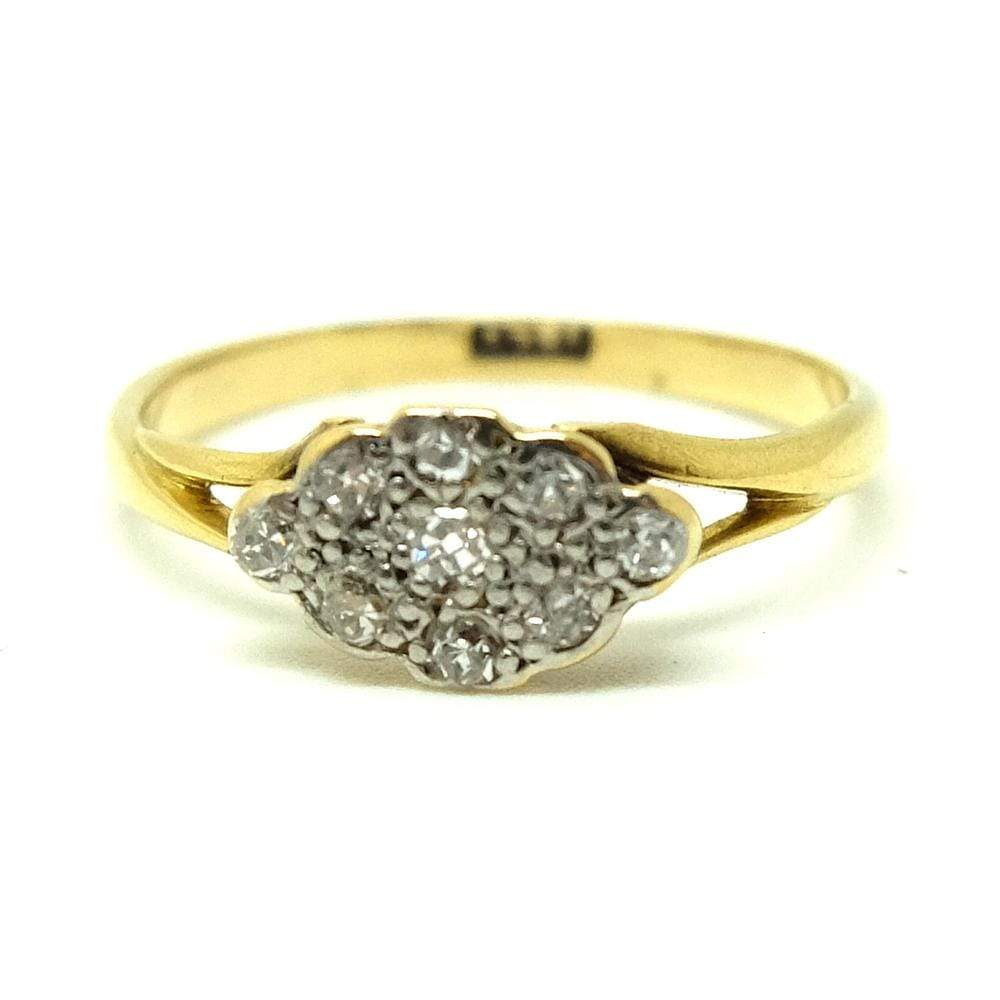 VICTORIAN Ring Antique Victorian Diamond Cluster 18ct Gold Ring