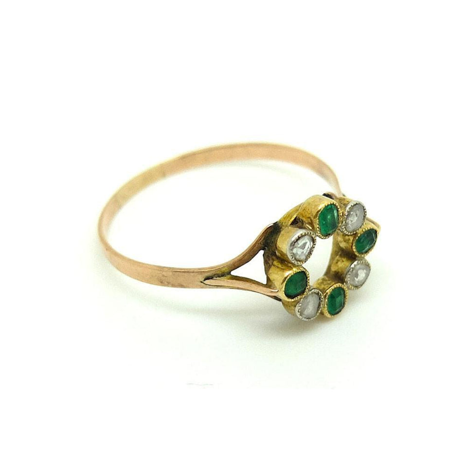 Antique Victorian Diamond & Emerald 9ct Gold Halo Ring