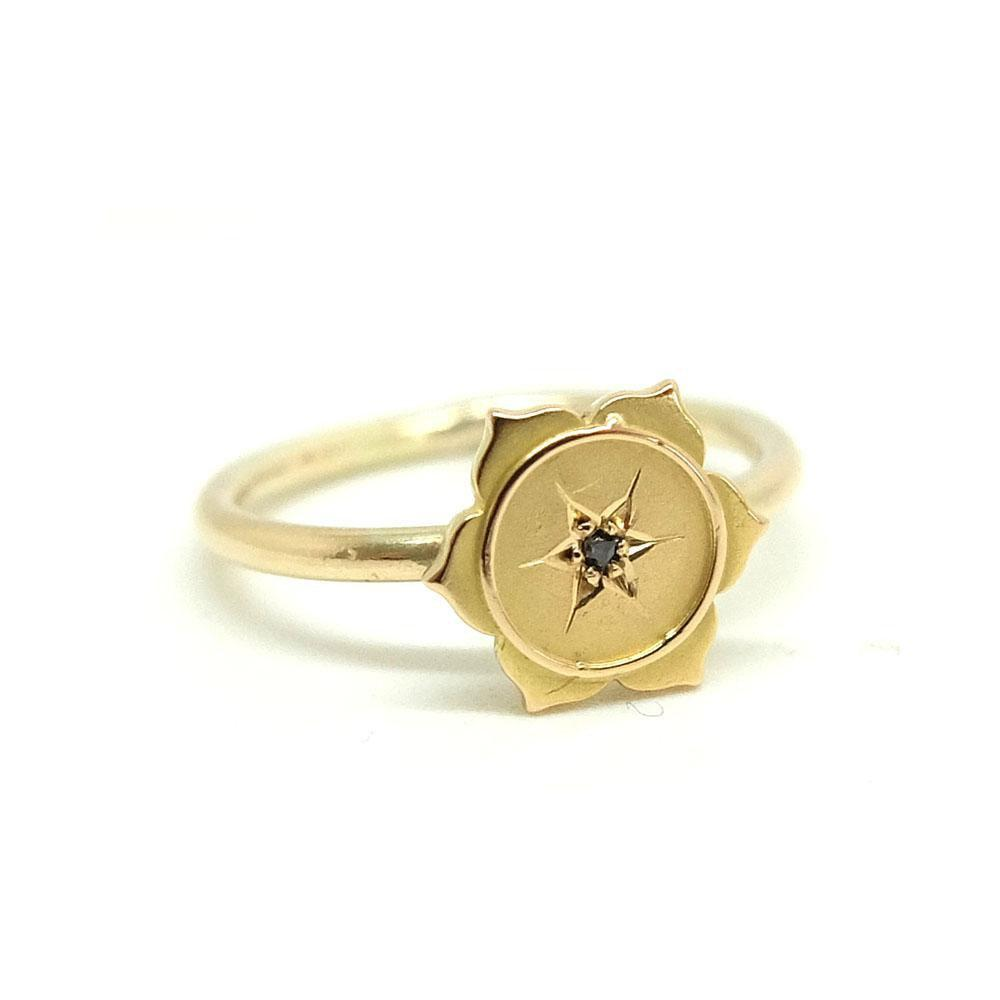 Antique Victorian Diamond Flower Gold Ring