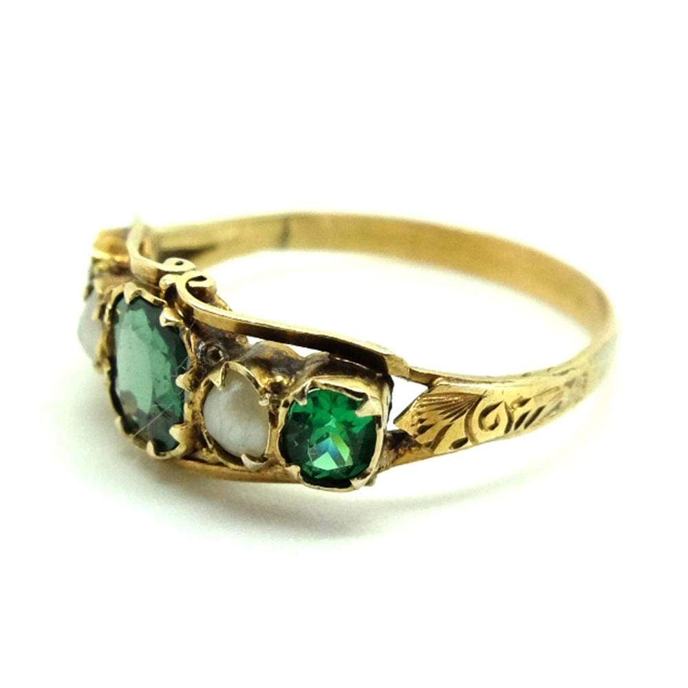 VICTORIAN Ring Antique Victorian Emerald 9ct Gold Pearl Ring