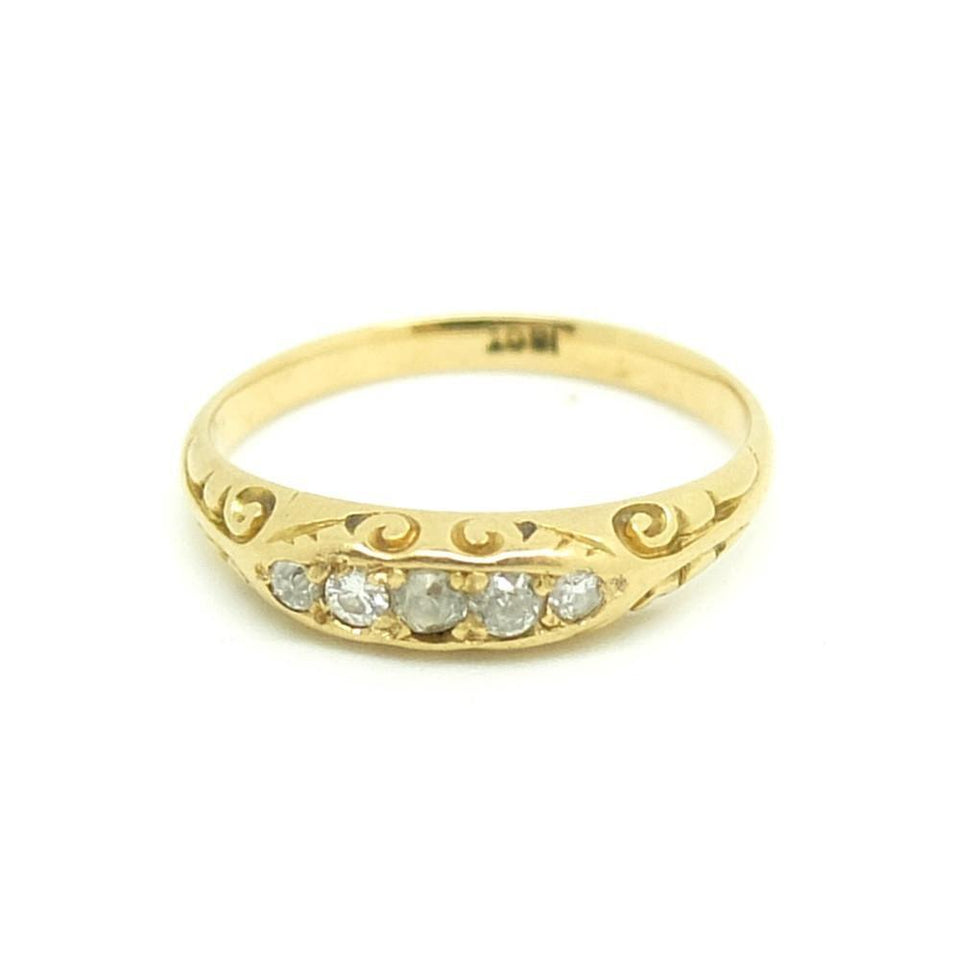Antique Victorian Five Diamond 18ct Gold Ring