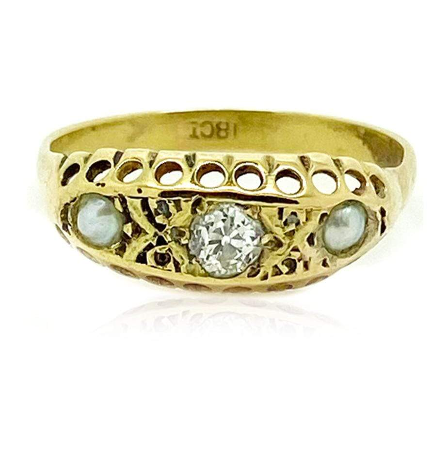 VICTORIAN Ring Antique Victorian Old European Cut Diamond Pearl 18ct Gold Ring