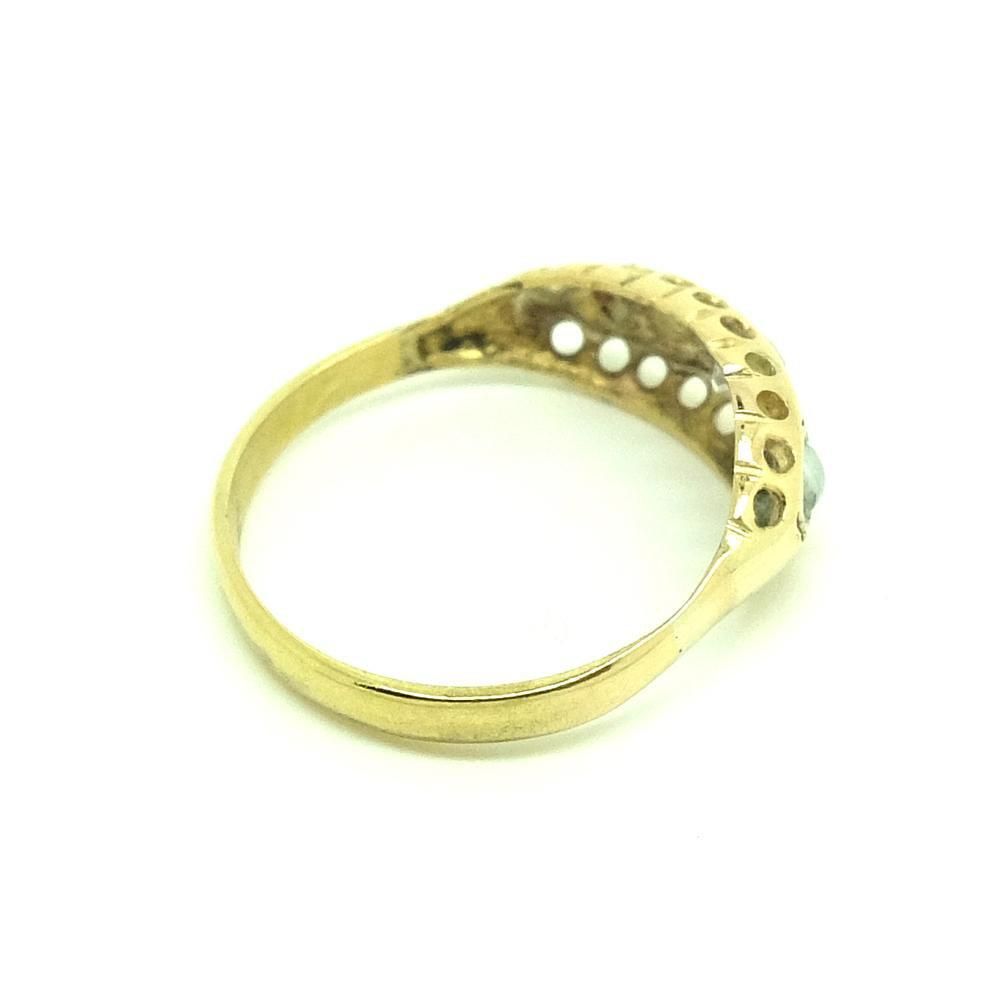 Antique Victorian Old European Cut Diamond & Pearl 18ct Gold Ring