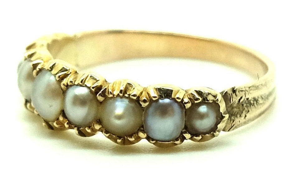 Antique Victorian Pearl & 9ct Gold Ring (Size: N)