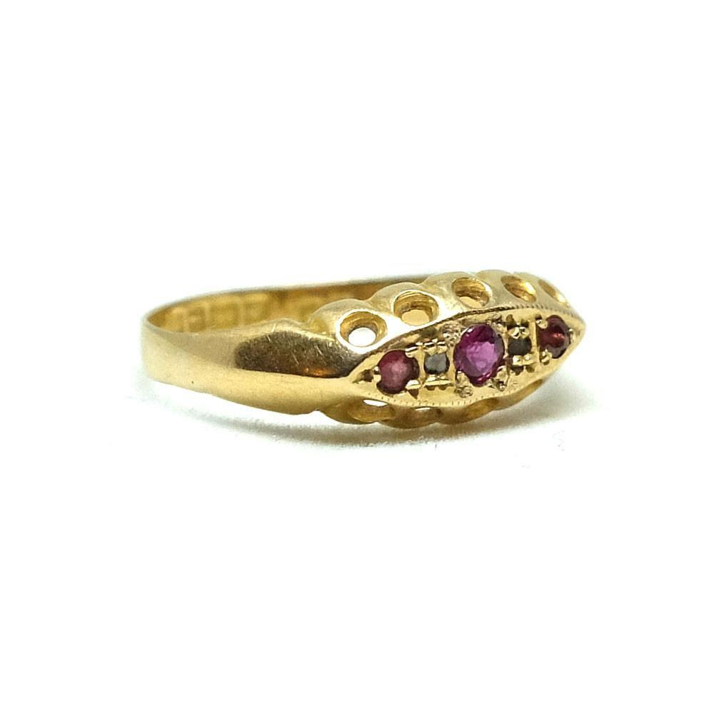 Antique Victorian Ruby & Diamond 1894 18ct Gold Gemstone Ring | O / 7.5