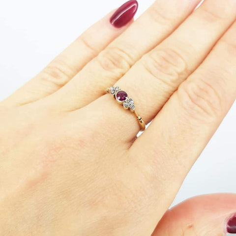 VICTORIAN Ring Antique Victorian Ruby & Diamond 18ct Gold Ring