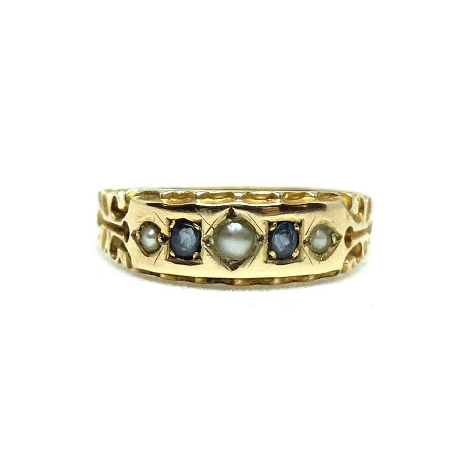 Antique Victorian Sapphire & Pearl 15ct Gold Ring