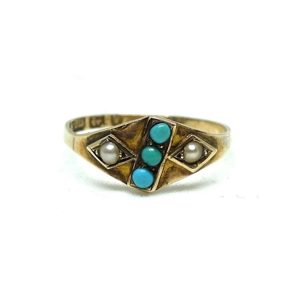 Antique Victorian Turquoise & Pearl 9ct Gold Ring