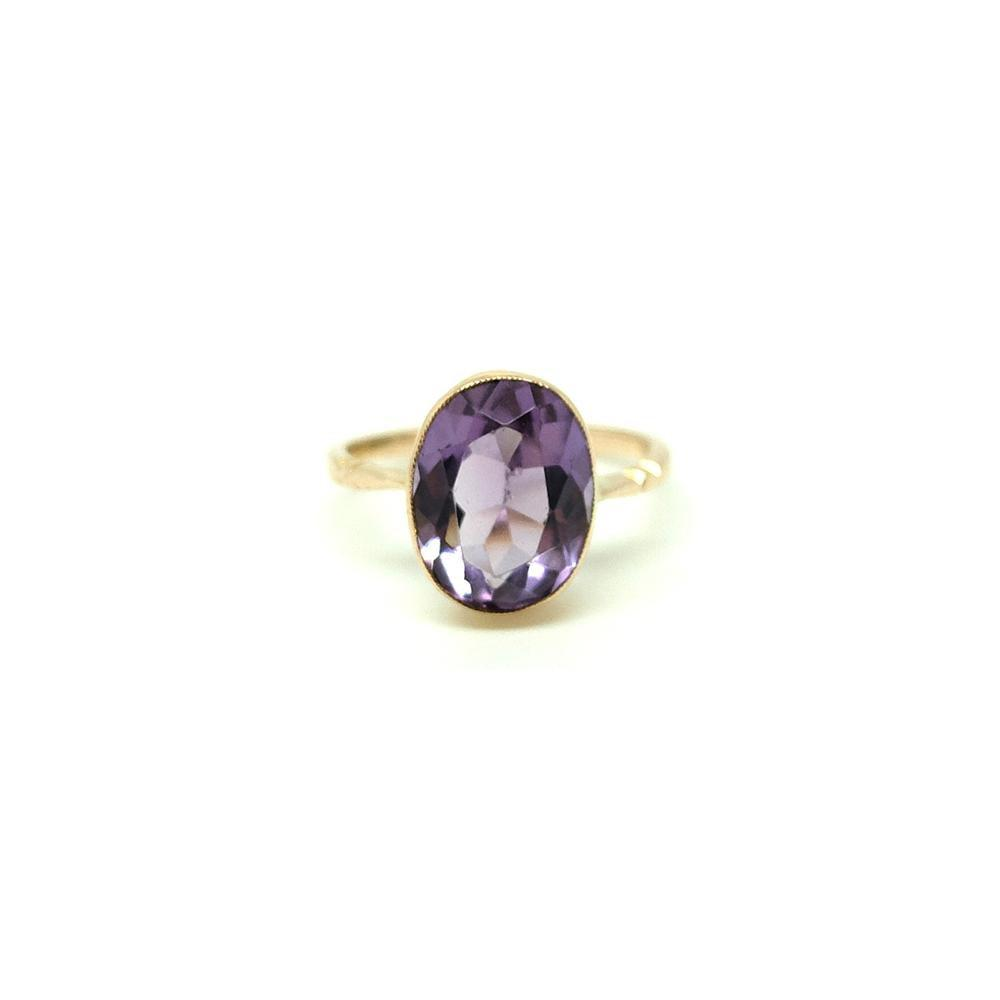 Reserved - Antique Victorian Amethyst 9ct Rose Gold Ring