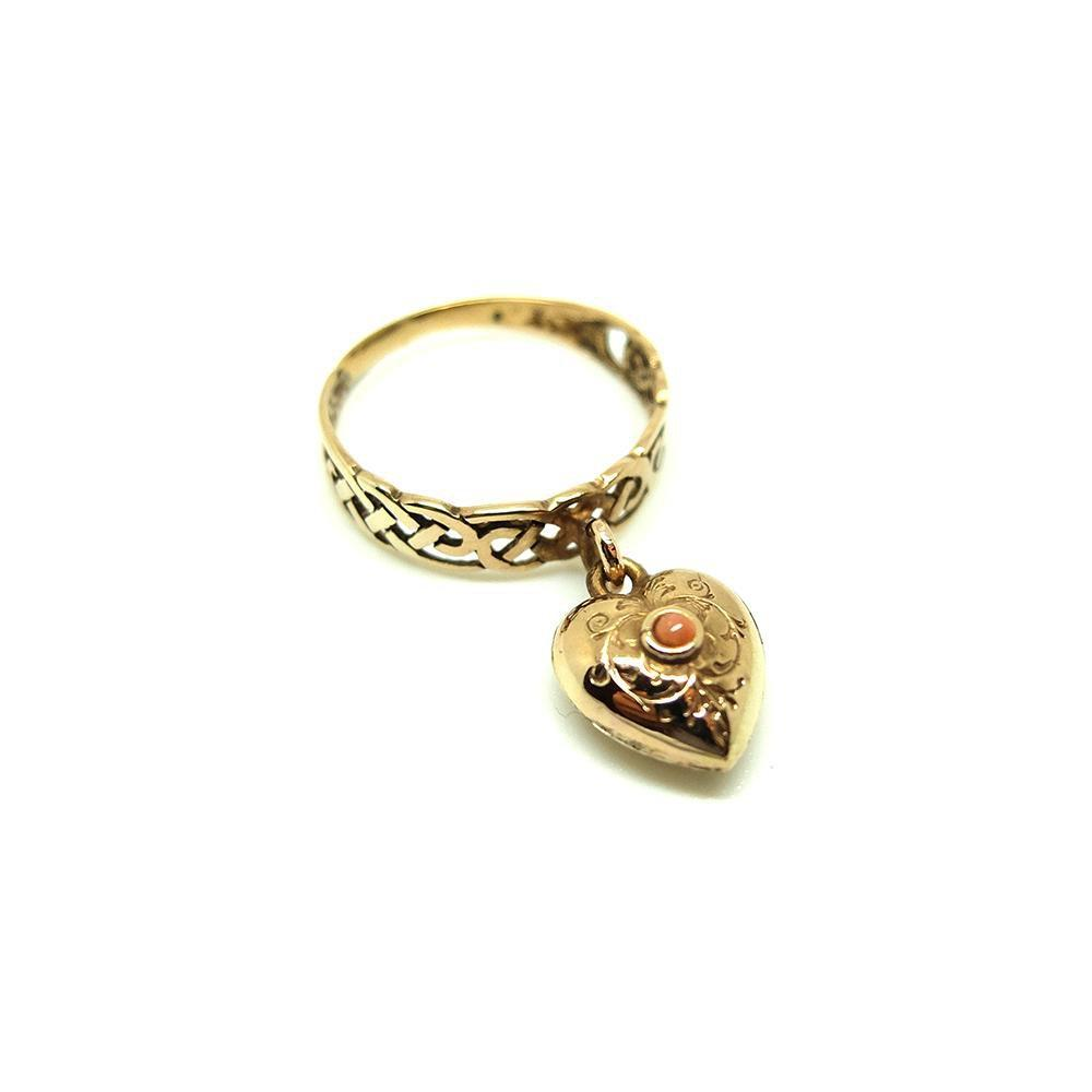SOLD - Antique Victorian 9ct Rose Gold Coral Heart Ring