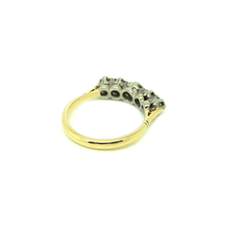 SOLD - Antique Victorian Five Diamond 9ct Gold Engagement Gemstone Ring | M / 6.5